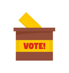 wood vote box icon flat style vector image