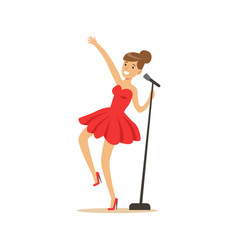 Young beautiful girl in red dress singing a song vector