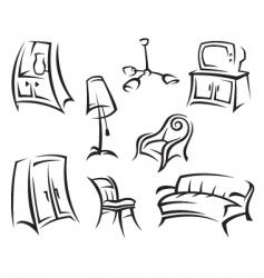 interior icon set vector image