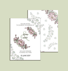 invitation with flowers of lotus modern vector image vector image