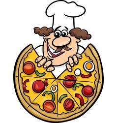 italian chef with pizza cartoon vector image vector image