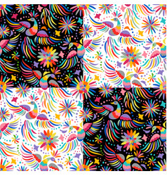 mexican embroidery seamless pattern vector image vector image