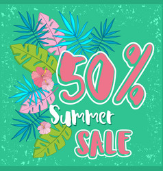 summer sale background with tropical palm vector image vector image