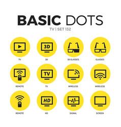 tv flat icons set vector image
