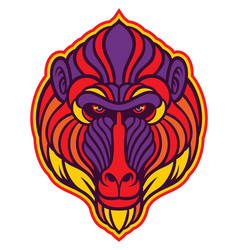 baboon mandrill monkey vector image