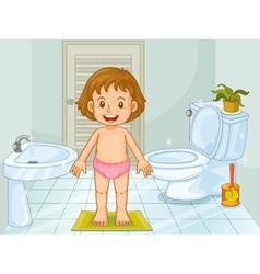 Child in bathroom vector image vector image