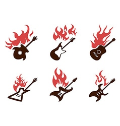 fire guitar icons set vector image vector image