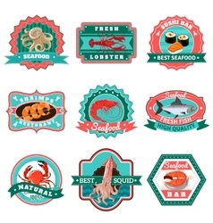 Seafood Emblems Set vector image