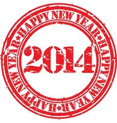 Happy new 2014 year gunge stamp vector image vector image