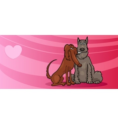 dogs couple in love valentine card vector image vector image