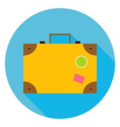 Flat Travel Suitcase Circle Icon vector image vector image