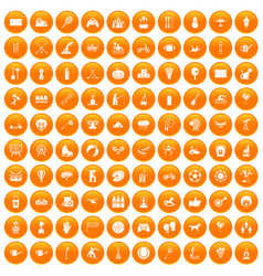 100 kids activity icons set orange vector
