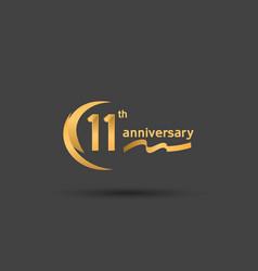 11 years anniversary logotype with double swoosh vector