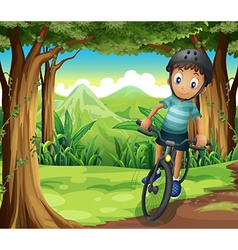 A boy biking in the middle of the forest vector image