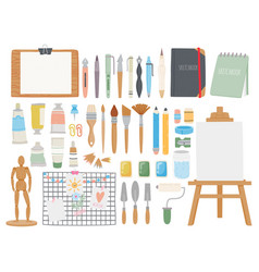 artist toolkit cartoon paint and calligraphy vector image
