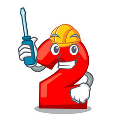 Automotive number two red isolated on mascot vector