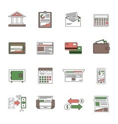 Bank icons outline vector