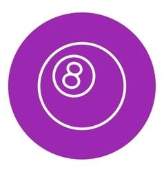 Billiard ball line icon vector