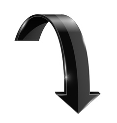 Black DOWN curved arrow vector