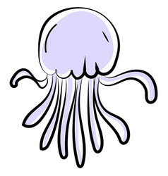 blue jellyfish on white background vector image