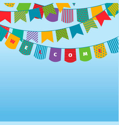 bunting flags background celebration colored vector image