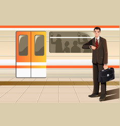 Businessman waiting for subway vector