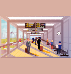 Busy people in airport lobflat vector