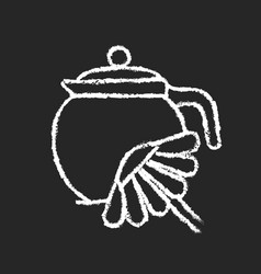 Chamomile tea chalk white icon on dark background vector