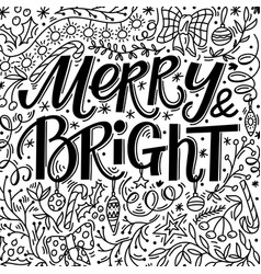 christmas greeting card with merry and bright text vector image