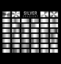 Collection silver chrome metallic gradient vector