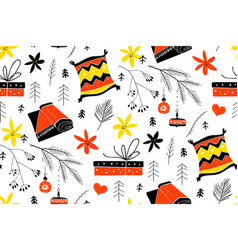 cute christmas pattern in scandinavian style vector image