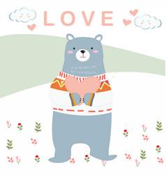 Cute teddy bear in garden cartoon vector