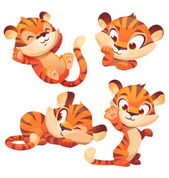 Cute tiger cub cartoon character funny animal vector