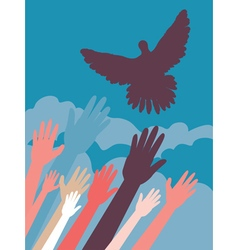 Dove and Hands3 vector