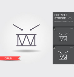 drum line icon with shadow and editable stroke vector image
