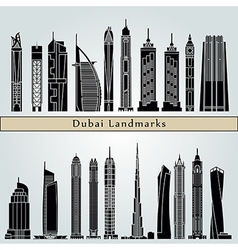 Dubai V2 landmarks and monuments vector