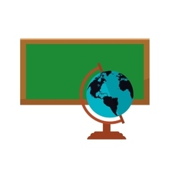 Earth globe and chalkboard icon vector