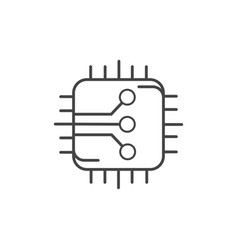 Electronic circuit board technology icon line vector