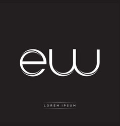 Ew initial letter split lowercase logo modern vector