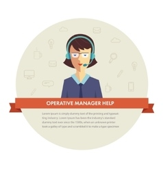 Female manager help banner vector image