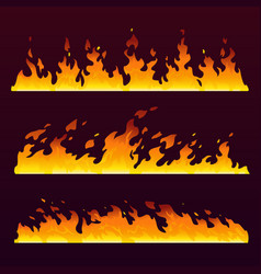 fire flames wall burning trail fireball pattern vector image