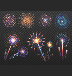 fireworks holiday firework explosion in night vector image