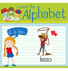 Flashcard alphabet L is for lasso vector