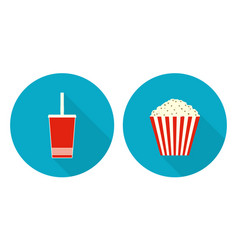 flat cup of cola and bucket of popcorn vector image