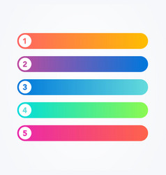 flat line colorful five steps progress or ranking vector image