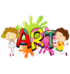 Font design for word art with happy kids vector