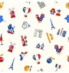 France travel icons seamless pattern with famous vector