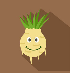 Fresh smiling turnip icon flat style vector
