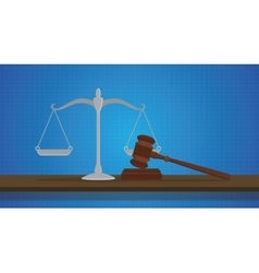gavel with scale judge object isolated blue vector image