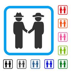 gentleman handshake framed icon vector image